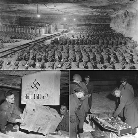 quan doi my trung thu cac kho bau tai mot mo muoi o mien trung nuoc duc thang 4-1945. anh: bao tang tuong niem holocaust, my
