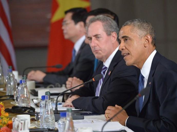 tong thong my barack obama phat bieu truoc cac doi tac tham gia tpp tai toa dai su my o bac kinh ngay 10.11.2014 - anh: afp