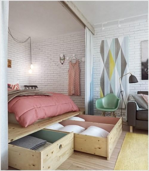 Cách cất giữ đồ đạc thật đẹp mắt trong phòng ngủ chật hẹp