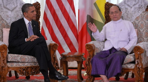 tong thong barack obama hoi dam voi tong thong thein sein tai thanh pho yangon - anh: getty images