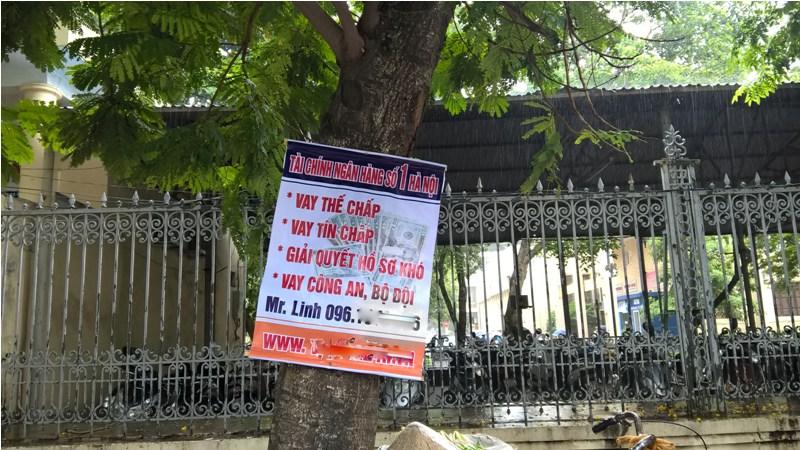 truoc cong dai hoc su pham 1, dai hoc kinh te (dhqg hn) rat nhieu banner quang cao vay von cua ngan hang thuong mai.